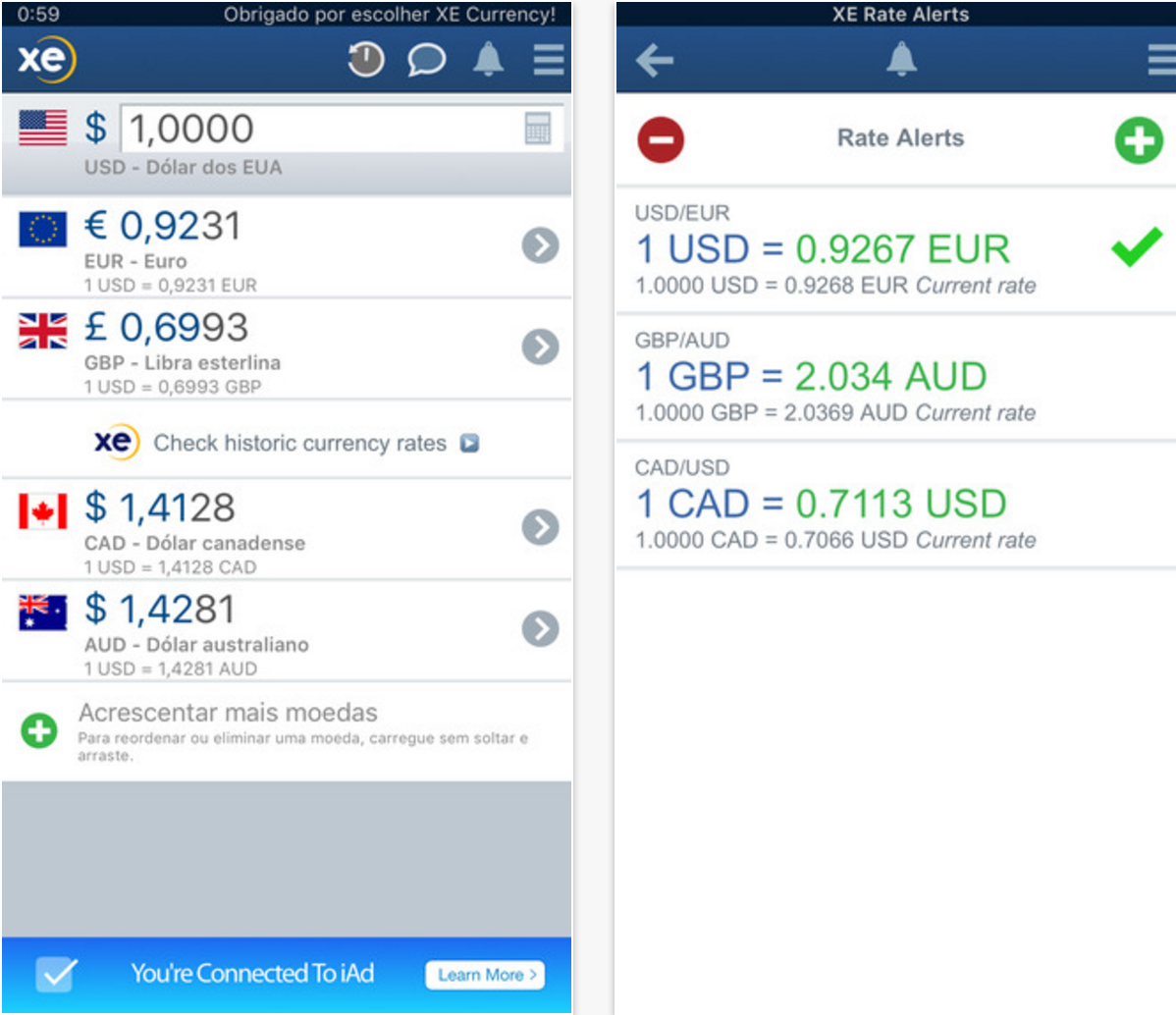 Aplicativo para converter para a moeda local